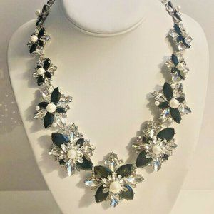 Charter Club Crystal & Pearl Statement Necklace